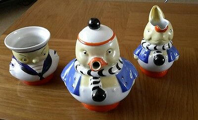 Fabulous Mabel Lucie Attwell Duck, Chick And Rabbit Shelley Tea Set. Mint 1930.