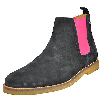 19da5fc89b4e5 Base London Ferdinand Mens Smart Casual Suede Leather Chelsea Boots Navy  Pink