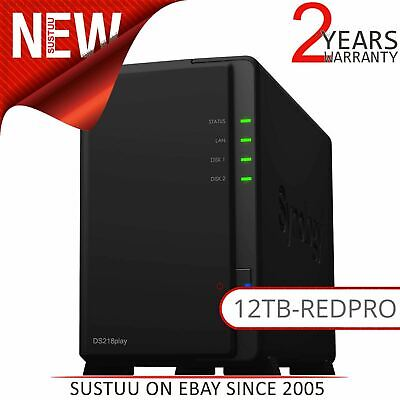 Synology DiskStation DS218play 12TB (2 x 6TB WD RED PRO) 2 Bay Desktop NAS Unit