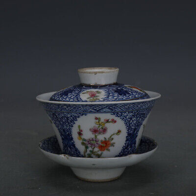 """3"""" Republic of China antique Porcelain blue white Hand painting flower cup"""