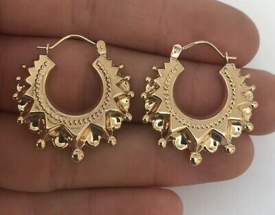 A Fine Pair Of Hollow Solid 9ct Gold Victorian Style Hoop Earrings 9K 375.