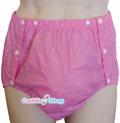 Cuddlz Adult Size Pink Side Snap On PVC Plastic Pants Incontinence Briefs