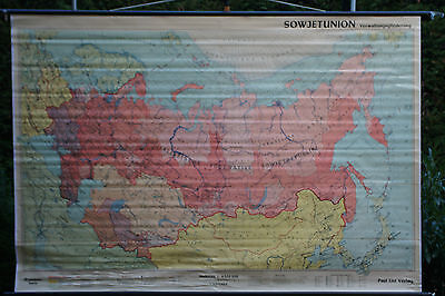 Schulwandkarte Wall Chart Roll Soviet Union Management School Map 241x165cm