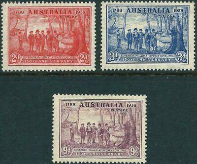 AUSTRALIA  - 1937 NSW Sesqui-Cent. Set to 9d PURPLE SG193-195 MVLH Cv$50 [A0136]