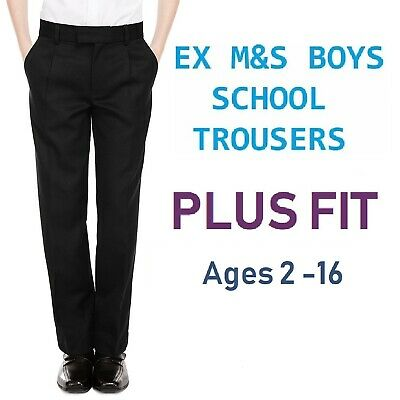 Ex M&S Plus Size Sturdy Fit Boys Black School Trousers Generous Fit Ages 2-16