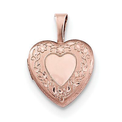 New 9CT Gold Filled Three Tones Locket Pendant Heart and Flower Design B106