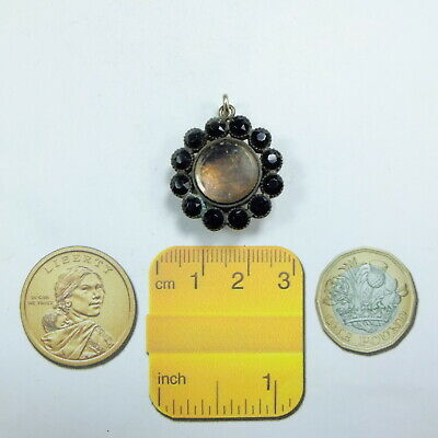 Antique Victorian French Jet & Gilt Metal Mourning Photo Locket Pendant & Brooch