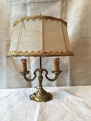 Vintage French Brass Double Lamp Parchment Shade games room candle