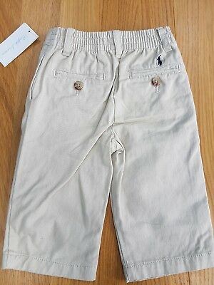RALPH LAUREN Baby Boy Classic Stone Cotton Logo Trousers Pant 9 months NWT chino