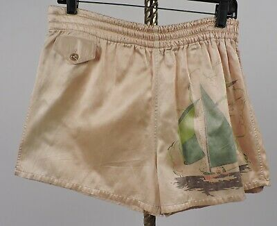 Vintage 1940'S Men's Satin Bathing Suit W Graphic Sail Boat Print