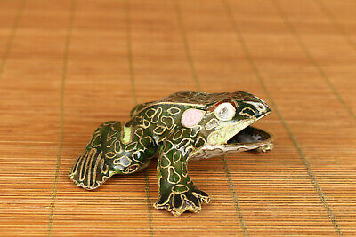 chinese old cloisonne hand carved frog statue figure collectable