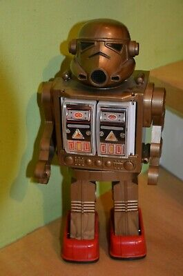 Altes Space Toy, goldener Roboter/robot (Nr.5), China?Japan?HongKong? 80er Jahre