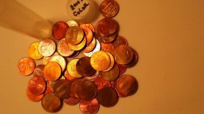 Toned Millennium roll of Lincoln Cents. 2000 to 2015 with color.