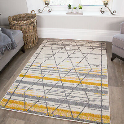 Modern Contemporary Abstract Diamond Lines Cream Grey Ochre Yellow Mustard Rug