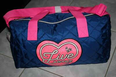 1d7070abe8 LIVE JUSTICE Girls Duffel Duffle Quilted Bag Blue Hot Pink Travel Gym Dance  NWT