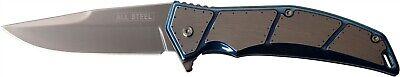 Mtech MT-A1097BL Blue Gray Tinite Straight Stainless 3Cr13 Folding Pocket Knife