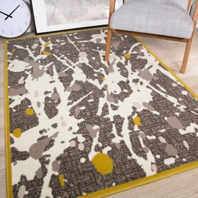 Milan Modern Abstract Paint Art Splat Design Ochre Yellow Mustard Grey Cream...