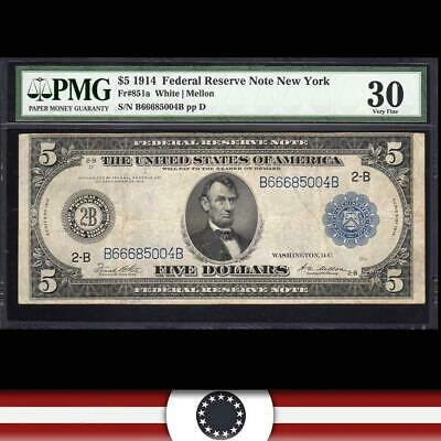 1914 $5 NEW YORK FRN Federal Reserve Note PMG 30 Fr 851a  B66685004B