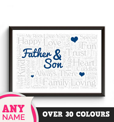 PERSONALISED Dad Son WORD Print Step Daddy Fathers Day Boy Birthday Gift Hearts