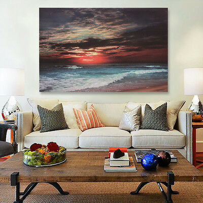 Framed Sunset Beach Sea Modern Canvas Art Painting Print Wall Picture Home  !