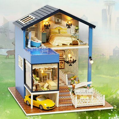 Seattle Cottage Dollhouse Miniature DIY Kit Dolls House with Furniture Kids  !