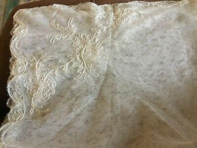 """Antique White Tulle Lace Scarf With Beautiful Embroidery 26""""sq"""