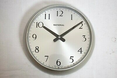 "VINTAGE 1960s NATIONAL ALUMINIUM INDUSTRIAL LARGE 13.5"" SLAVE DIAL WALL CLOCK"