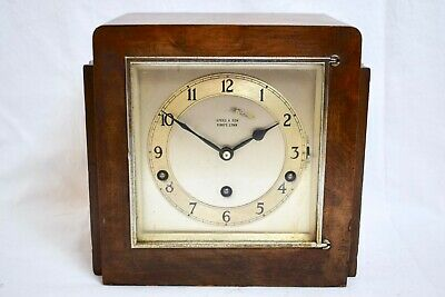 1930s GARRARD WESTMINSTER CHIME ART DECO MAHOGANY CASED VINTAGE MANTEL CLOCK