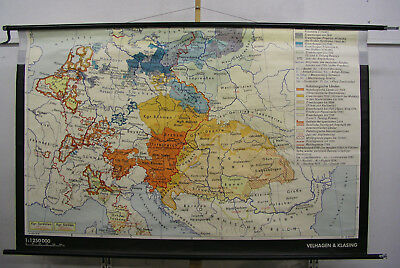 Old Schulwandkarte Austria vs Prussia 1795 Vintage Wall Map 76 3/8x48 3/8in 1966