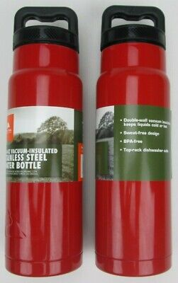 73d669b6d1 2-Pack Ozark Trail 24 oz Vacuum Insulated Stainless Steel Water Bottle RED