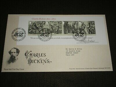 2012 GB Stamps CHARLES DICKENS Mini Sheet First Day Cover PORTSMOUTH Cancels FDC