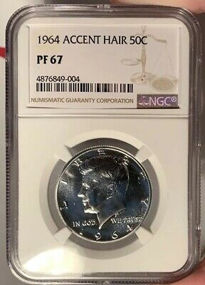 1964 50c NGC PF 67 Proof Kennedy Half Dollar  - Accent Hair