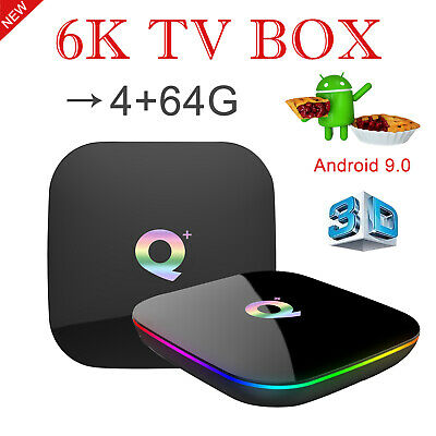 New 6K 3D  4+64G Q plus Android 8.1 Smart TV Box WIFI HDMI BT H.265 Media Player