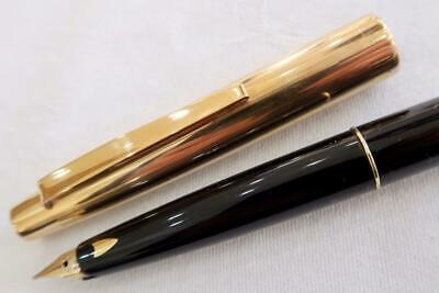 SAILOR LONG-SHORT FOUNTAIN PEN BLACK AND LONG GOLD CAP 18ct NIB FULLY SERVICED