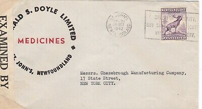 Newfoundland 1942 Censored Medicine Ad Cover St John's to New York 5c Rate