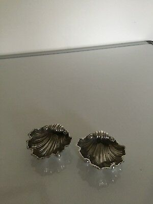 Pair Of Silver Salts In Classic Shell Design 1897 Chester Hallmarks (J D & Wd)