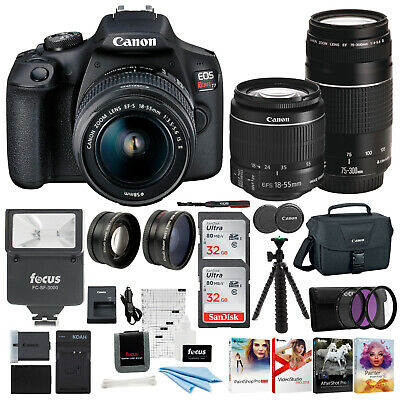 Canon EOS Rebel T7 DSLR Camera 18-55 and 75-300 Double Zoom Lens with Bag Bundle
