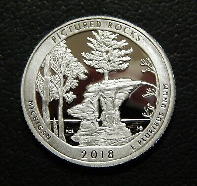 2018-S 90% SILVER PROOF Pictured Rocks Michigan Deep Cameo GEM!