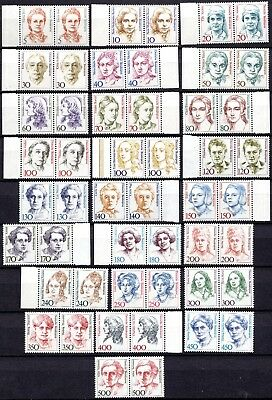 GERMANY- FAMOUS WOMEN - 1st SERIES - FULL SET OF JOINED PAIRS- MNH**