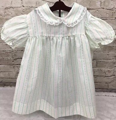 d7298a328 Vintage Baby Dress Mayfair Kids Girls Pleated Stripes Dots Size 24 Months  Reborn