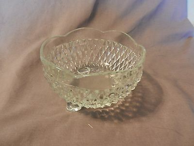 Vintage Glass Footed Candy Dish Diamond Pattern Scalloped Edges (M