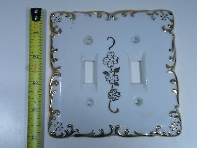 Vintage White Porcelain Floral Gold Trim Double Toggle Light Switch Plate Cover