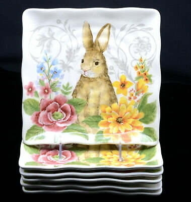Maxcera * 6 SALAD PLATES * Easter, Bunny Rabbit, Colorful Flowers, Square, NEW