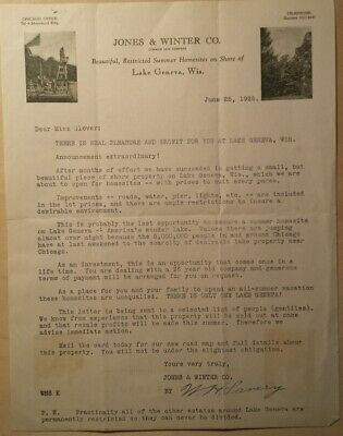 "1926 Lakefront Property Offer to ""Gentiles"" Lake Geneva WI Jones & Winter Co"