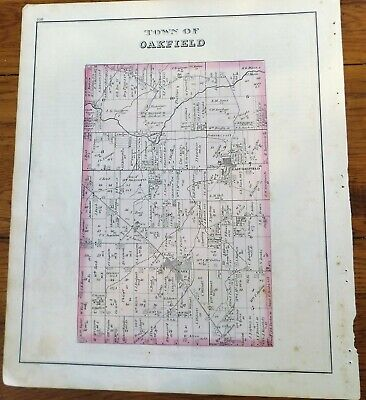 1876 NY Town of Oakfield Genesee Co Atlas Map