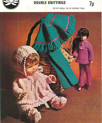"""Vintage Knitting Pattern  Copy -  Knit For 12-16"""" Dolls  In Double Knitting"""