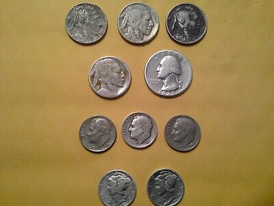 Old coin lot of 10 (mixed) Found in Mom's jewelry box