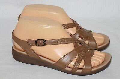 74cb1df28e8 NATURALIZER WOMENS STRAPPY Brown Leather Sandals Gracelyn Size 12 ...