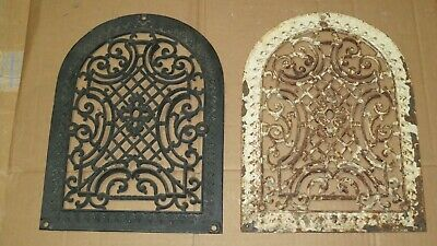 2 Cast Iron grate/vent ARCH COVERS same Victorian design wall