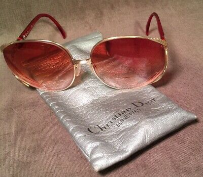 18f20f681f7e9 Vintage CHRISTIAN DIOR 2250 43 Large Lens Red Gold Sunglasses Lunette